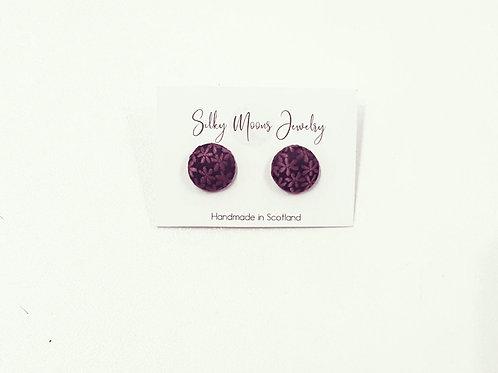 Silky Moons Small Stud Earrings - Purple Flower