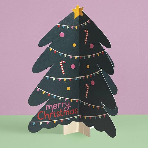 'Merry Christmas' Christmas Tree 3D fold-out Christmas card