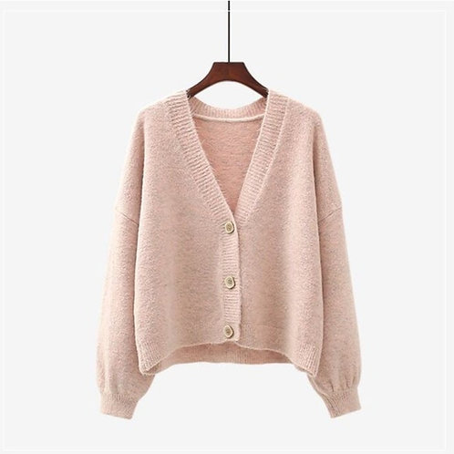 V-Neck Cardigan in One Size - Pink