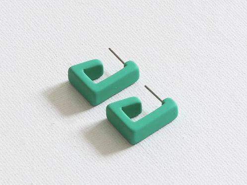 Petra Matte Resin Square Earrings - Green