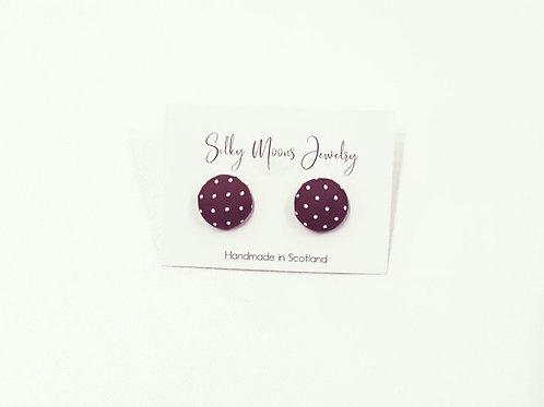 Silky Moons Small Stud Earrings - Rust/Cream Polka Dot