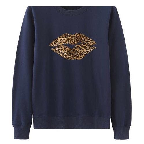 Navy Sweatshirt with Leopard Print Kiss