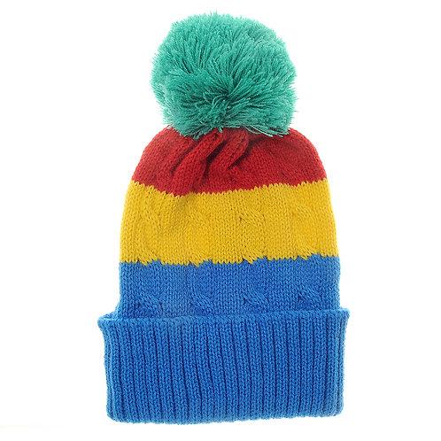Rainbow Cable Knit Bobble Hat