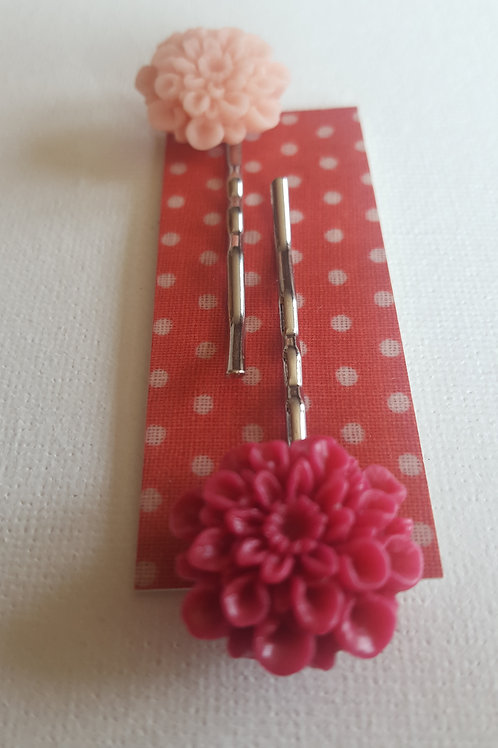 Acorn & Will Tolly Hairslides - Vivid Pink/Pale Pink
