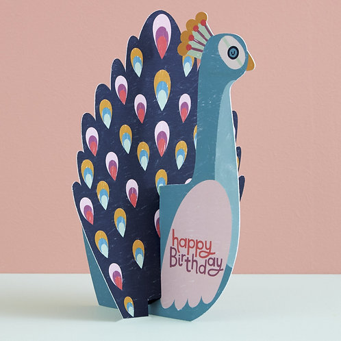 Peacock Fold-out Birthday Card