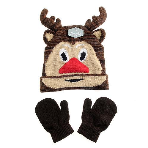 Ziggle Reindeer Hat and Mitts Set