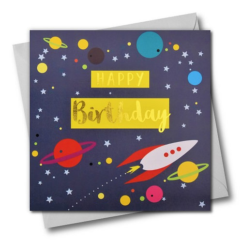 Rocket and Planets Birthday Card