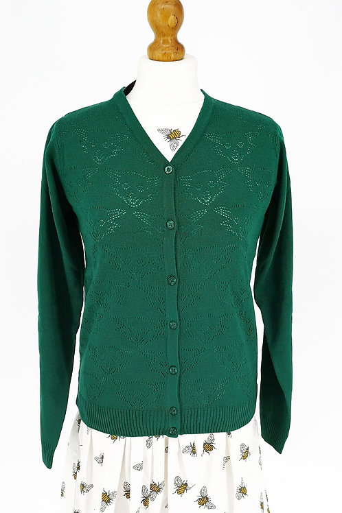 Fox Pointelle Cardigan - Bottle Green