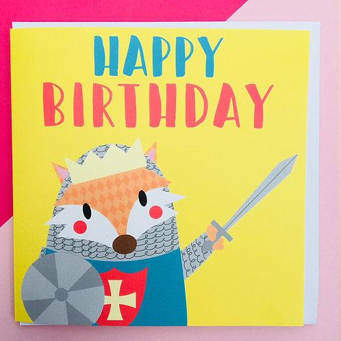 Fox Knight 'Happy Birthday' Card