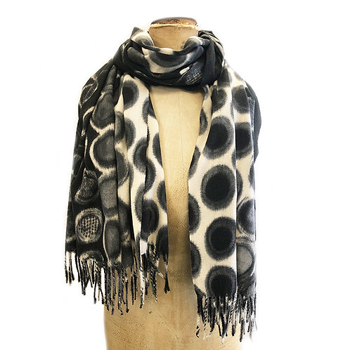Supersoft Spotty Bubble Print with Fringe Trim Scarf
