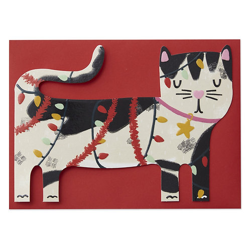Black & White Cat tangled in Christmas tree lights Card