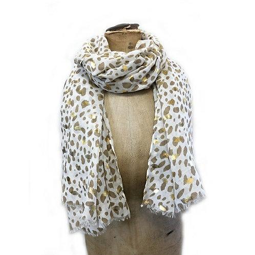 Leopard Print  Scarf - White/Gold