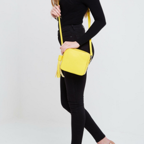 Box Bag with Tassel - Yellow