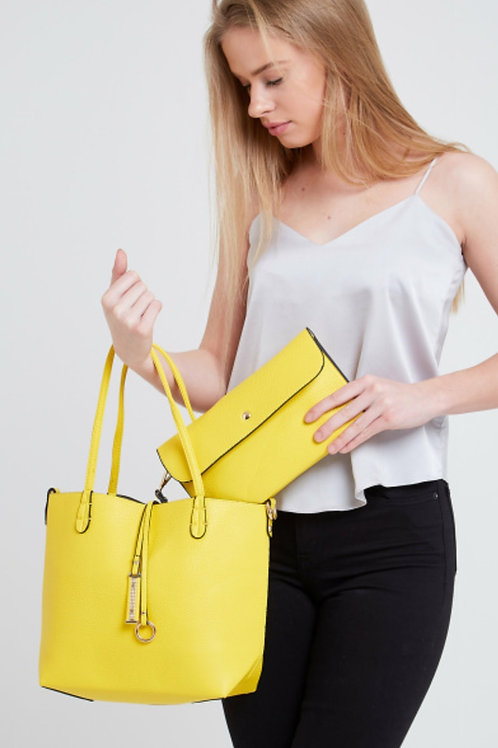 Yellow Faux Leather Clutch Bag