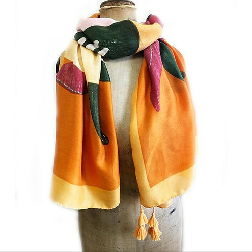 Doves from Above Scarf - Mandarin