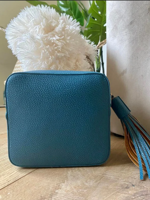 Box Bag with Tassel - Teal