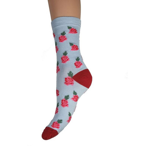 Red Rose Bamboo Socks 4-7