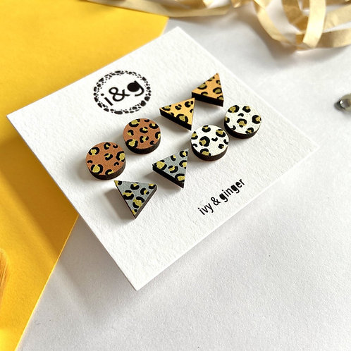 Gold Leopard Four Piece Set Hand Painted Wooden Earrings Animal Print