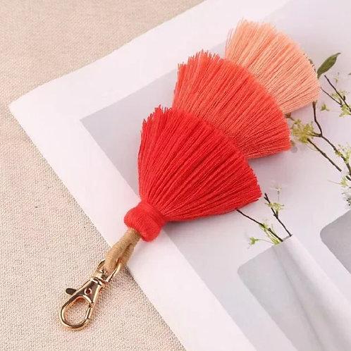 Three Tassel Keyring - Red