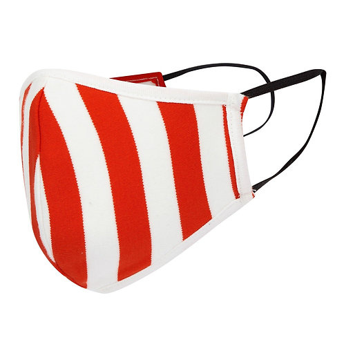 Red/White Stripe Cotton Jersey Face Mask