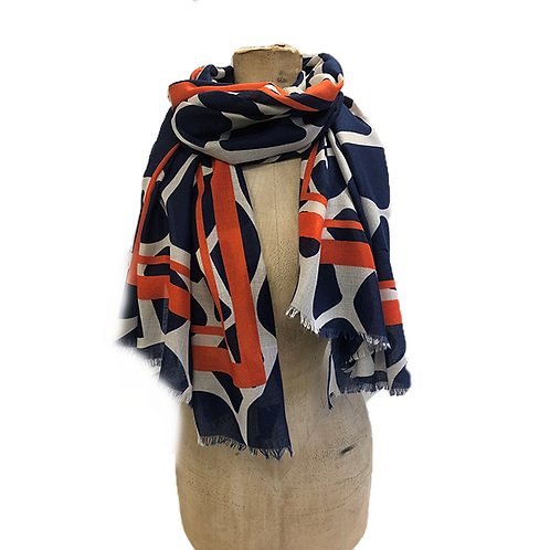 Large Animal Block Print with Border Edge Scarf - Navy/Orange