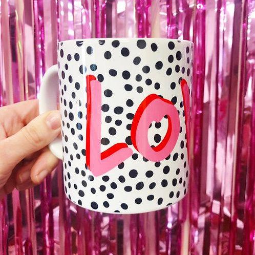 'Love' Polka Dot Mug