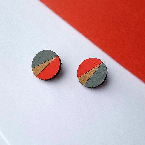 Statement Geometric Circle earrings - Red/Grey