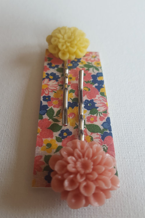 Acorn & Will Tolly Hairslides - Peach/Yellow