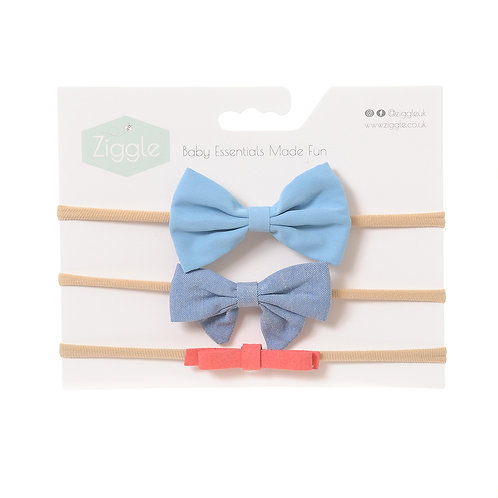 Blue and Coral Hairbow Set