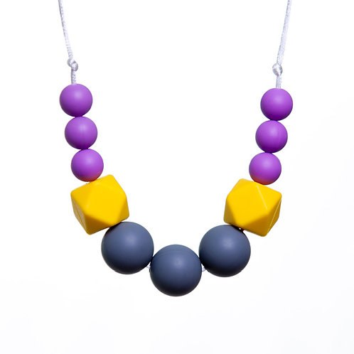 Jen Teething Necklace - Grey & Purple