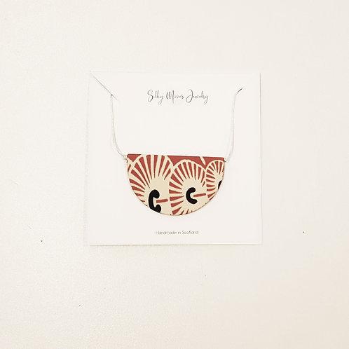 Silky Moons Half Moon Necklace - Orange Art Deco