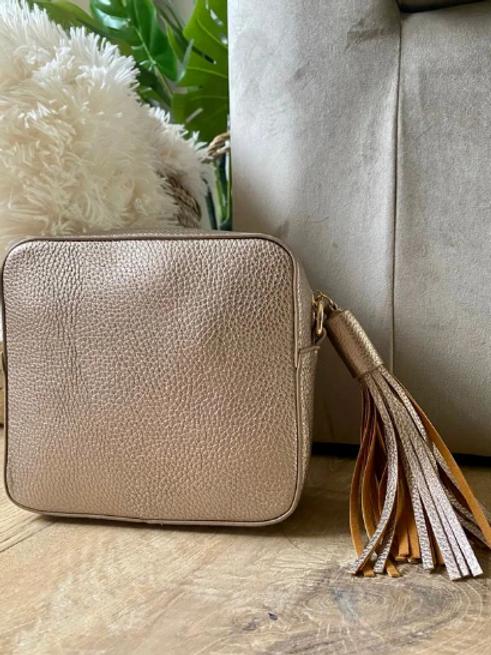 Box Bag with Tassel - Rose Gold