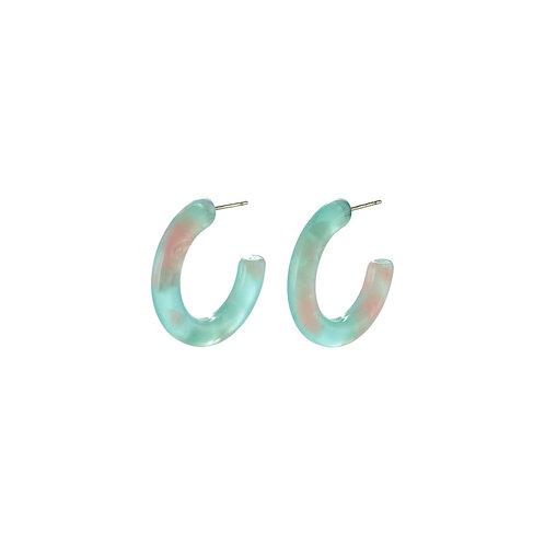 Sea-Green Marble Design Hoop Earrings