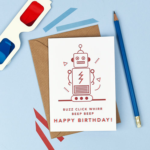 3D Robot Birthday Card