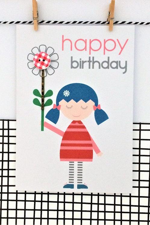 Happy Birthday Hair Clip Card