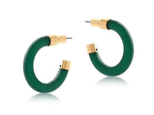 Isabella Resin and Metal Hoop Earrings - Green