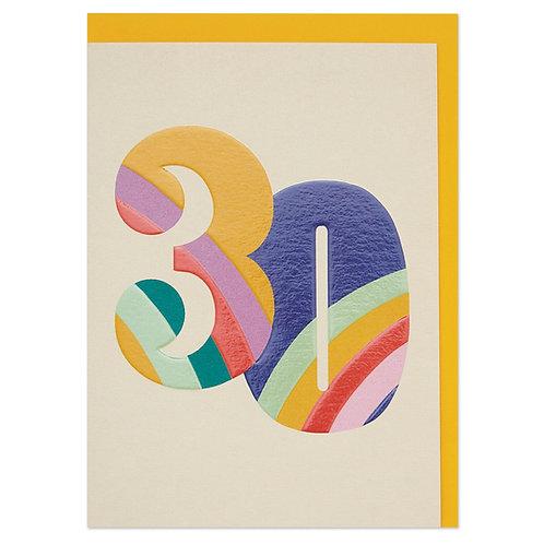 Colourful Rainbow Numbers age 30 Birthday Card