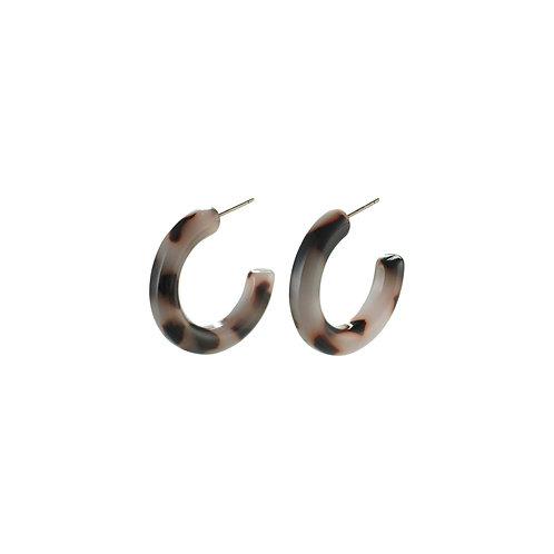 Brown Tortoiseshell Hoop Earrings - Silver-Plated