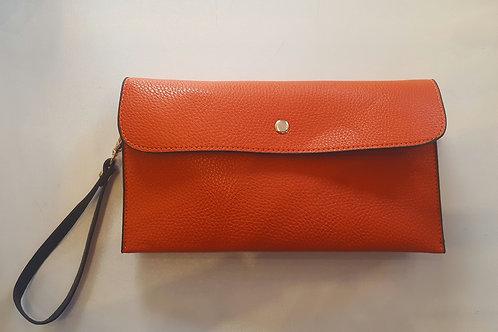 Orange Faux Leather Clutch Bag