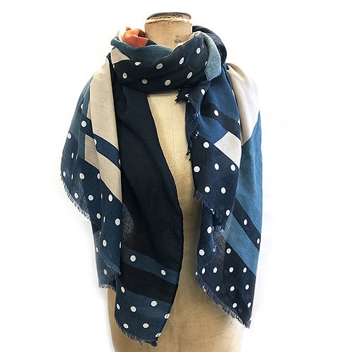 Abstract Block Panels with Highlights Scarf - Navy