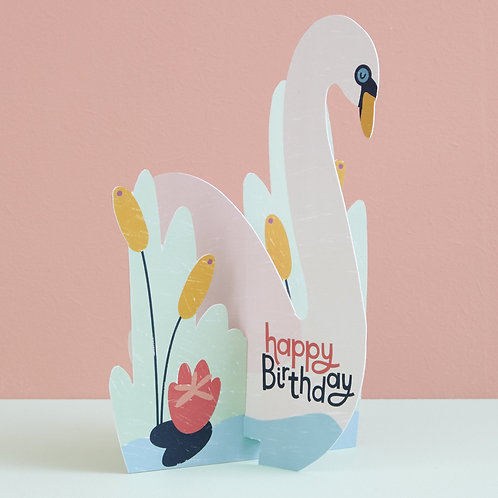Swan Fold-out Birthday Card