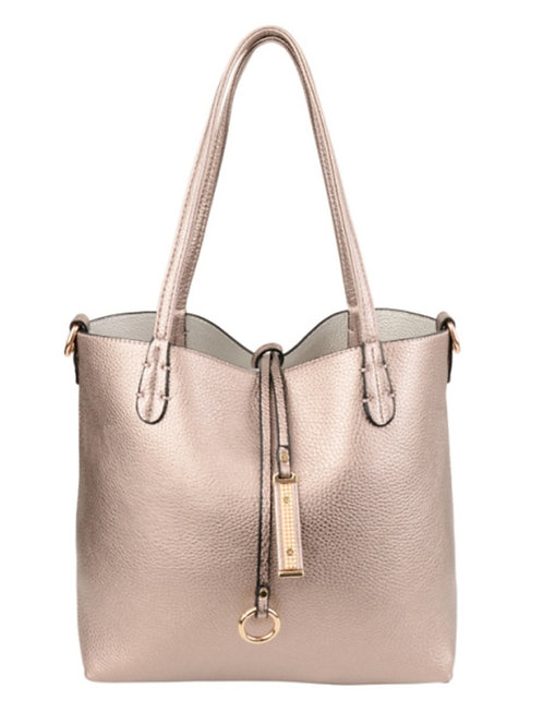 Rose Gold/Silver Reversible Faux Leather Tote Bag