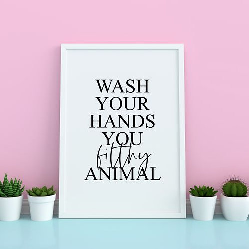'Wash Your Hands' Print - A4 Unframed