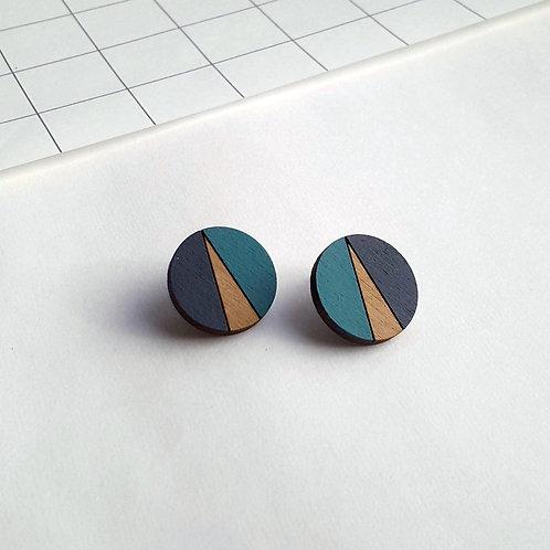 Statement Geometric Circle Earrings - Teal/Navy