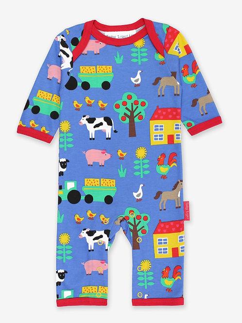 Organic Farm Print Sleepsuit