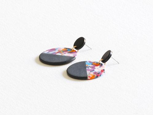 Audette Two Tone Resin Earrings - Black/Purple/Multi