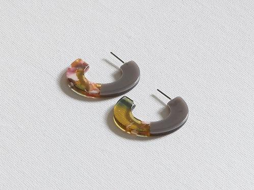 Severine Two Tone Resin Hoop Earrings  - Grey/Green/Pink