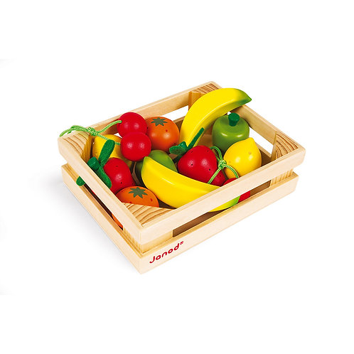 12 Wooden Fruits in a Crate