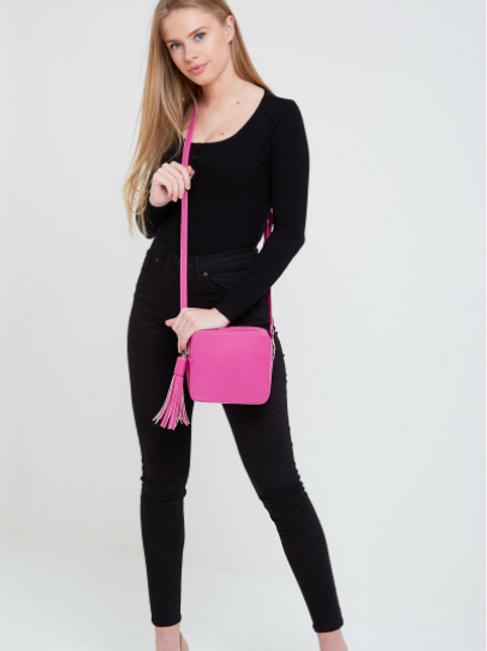 Box Bag with Tassel - Fuschia Pink