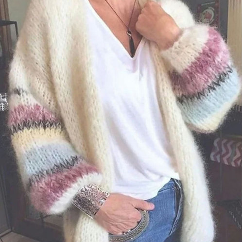Ivory Lightweight Knitted Cardigan with Contrast Sleeves